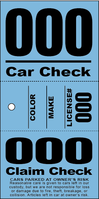3 Part Valet Ticket With Vehicle Diagram Red