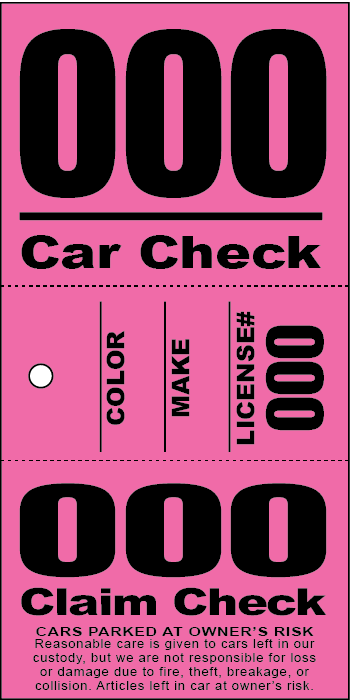 3 Part Valet Ticket With Vehicle Diagram Green