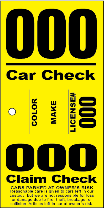 3 Part Valet Ticket With Vehicle Diagram Blue