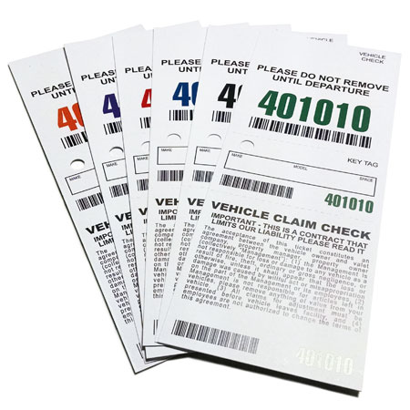 3 Part Barcoded Valet Ticket (3in x 7.5in)