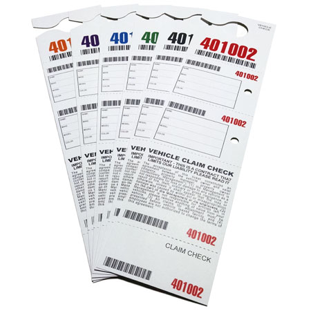 5 Part Hanging Valet Ticket
