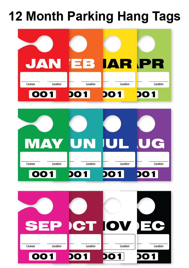 Monthly Parking Hang Tags - All 12 Months