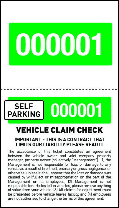 2 Part Economy Self Parking Valet Tickets