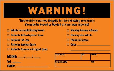 Parking Violation Warning Stickers