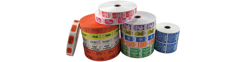 roll tickets, custom roll tickets, 1x2 roll tickets, 2x2 roll tickets, raffle tickets